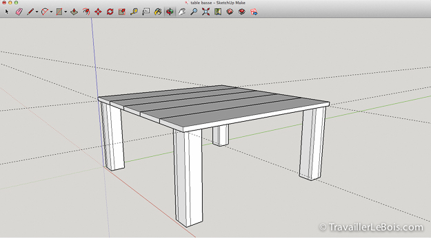 mod lisation de ma table basse sous sketchup copain des. Black Bedroom Furniture Sets. Home Design Ideas