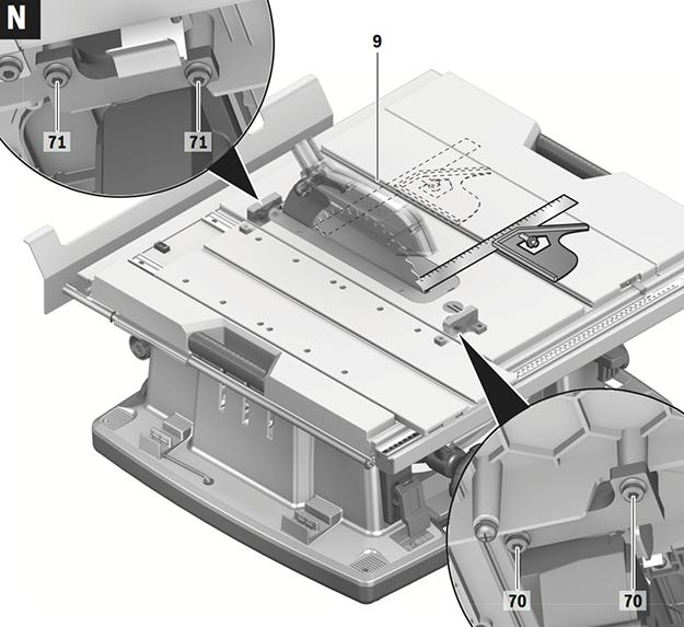 Réglage du parallélisme de la lame de scie Bosch GTS 10 XC